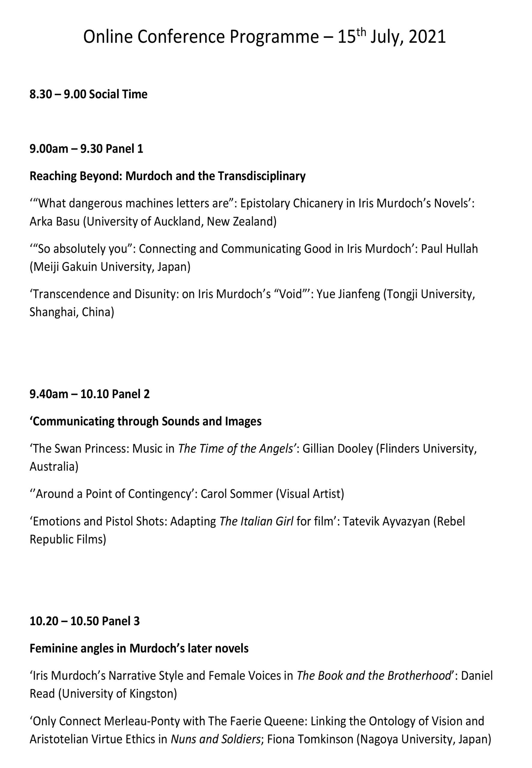 Online Conference Programme 1/3