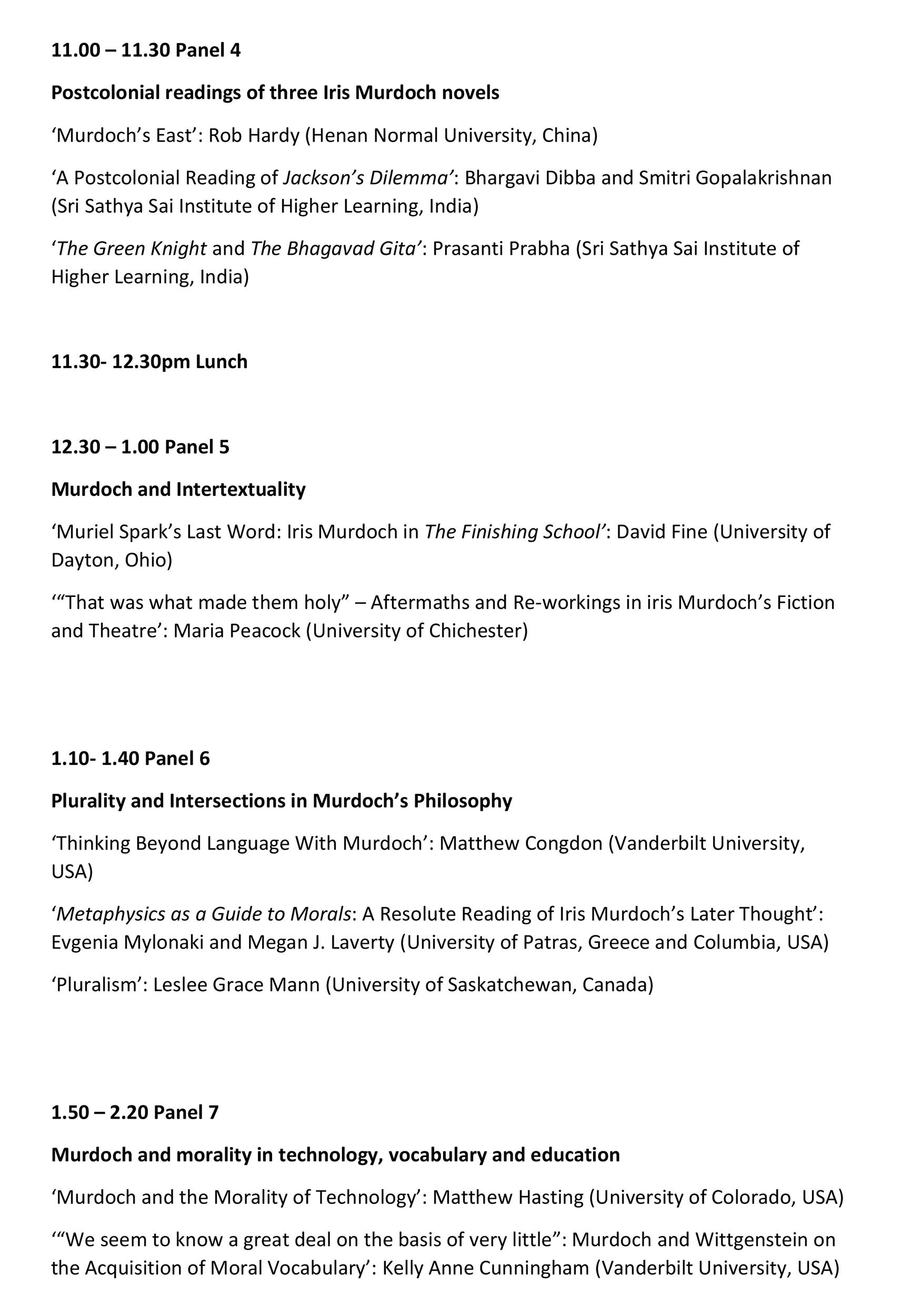 Online Conference Programme 2/3