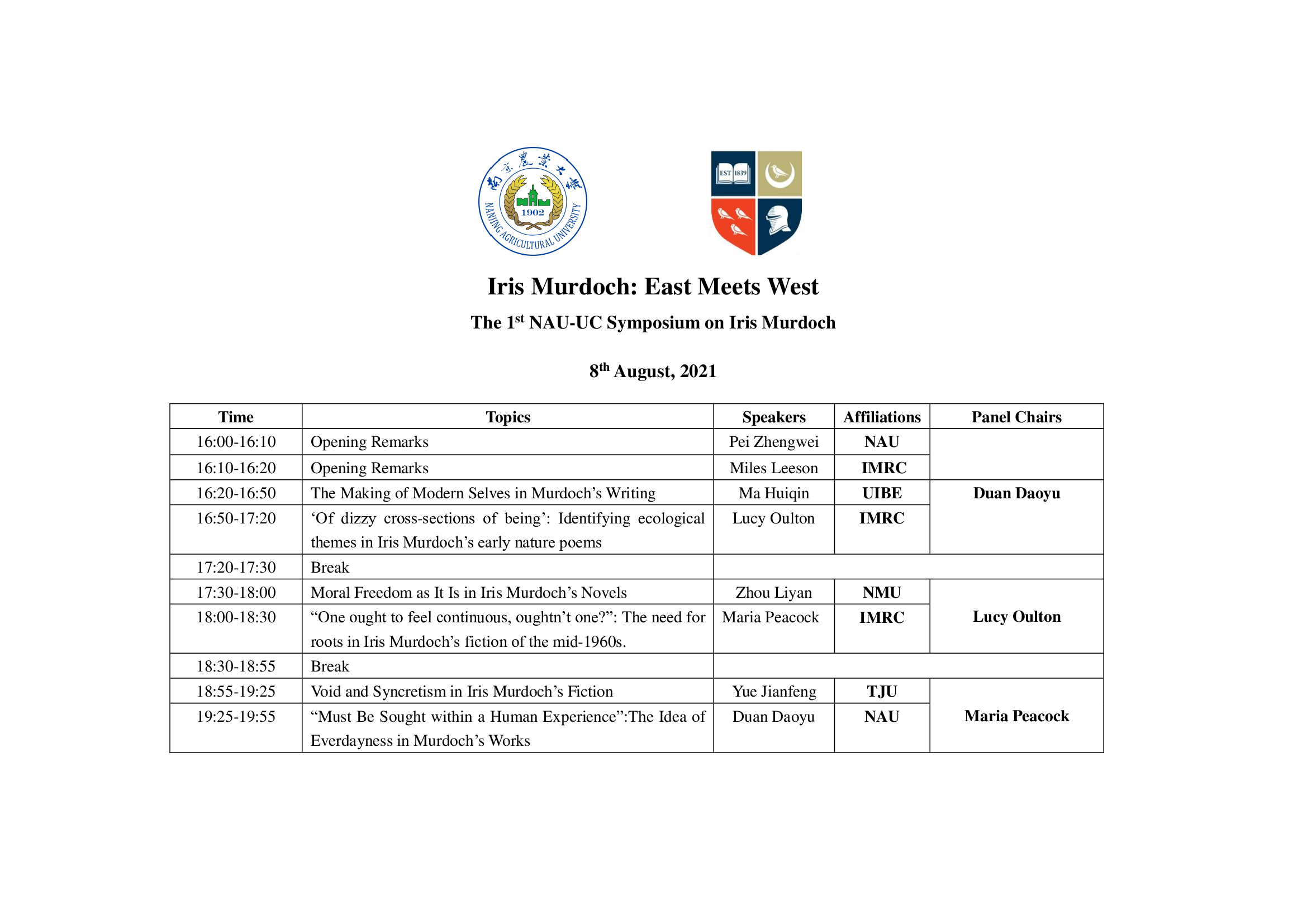 Iris Murdoch: East Meets West schedule